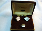 1970's Mother of Pearl and Goldtone Cufflinks & Matching Tie Pin by Stratton (SOLD)